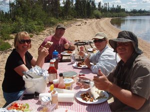 Shore lunch on North Knife Lake. Always delicious!