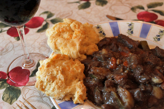 Goose Stew with Cheese Biscuits - Black Currants & Caribou