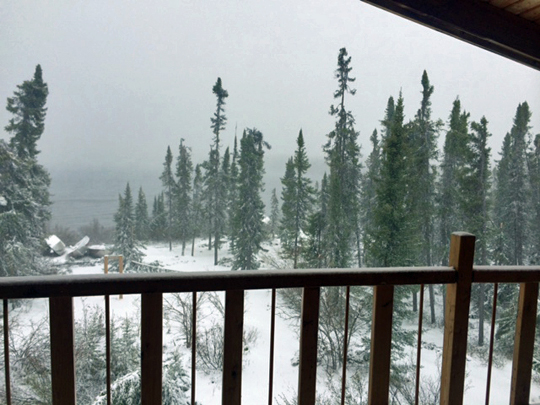 View from North Knife Lake Lodge balcony during June 2014 storm.