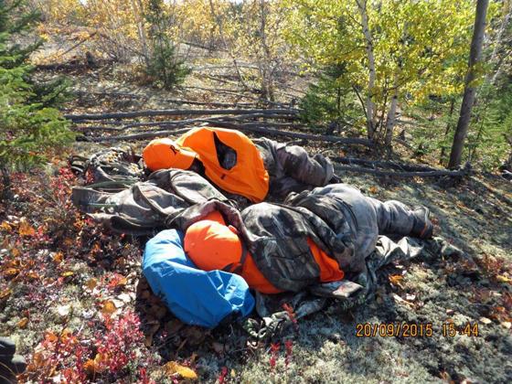 Nap time for moose hunters. David and Jackson. Webber's Lodges.
