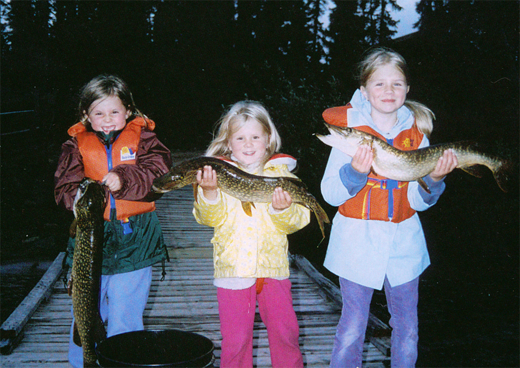 Webber's girls. Early days at North Knife Lake Lodge.