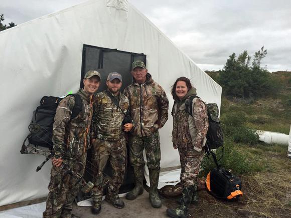 Tent mates at caribou camp. L to RKevin Beasley, Jake Thompson, George Weber, Liz Richter.